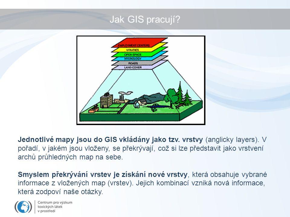 Jak GIS pracují. Jednotlivé mapy jsou do GIS vkládány jako tzv.