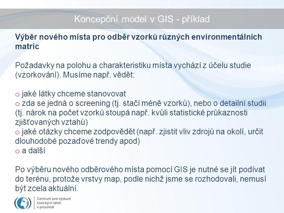 Koncepční model v GIS - příklad Výběr nového místa pro odběr vzorků různých environmentálních matric Požadavky na polohu a charakteristiku místa vychází z účelu studie (vzorkování).
