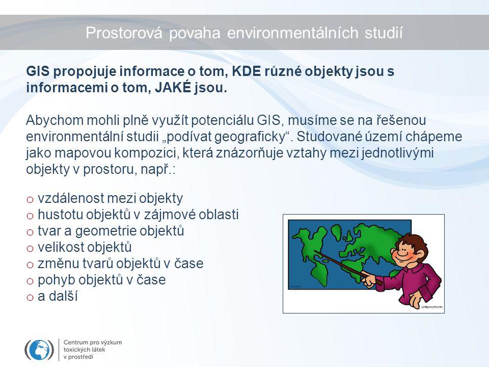 Prostorová povaha environmentálních studií GIS propojuje informace o tom, KDE různé objekty jsou s informacemi o tom, JAKÉ jsou.