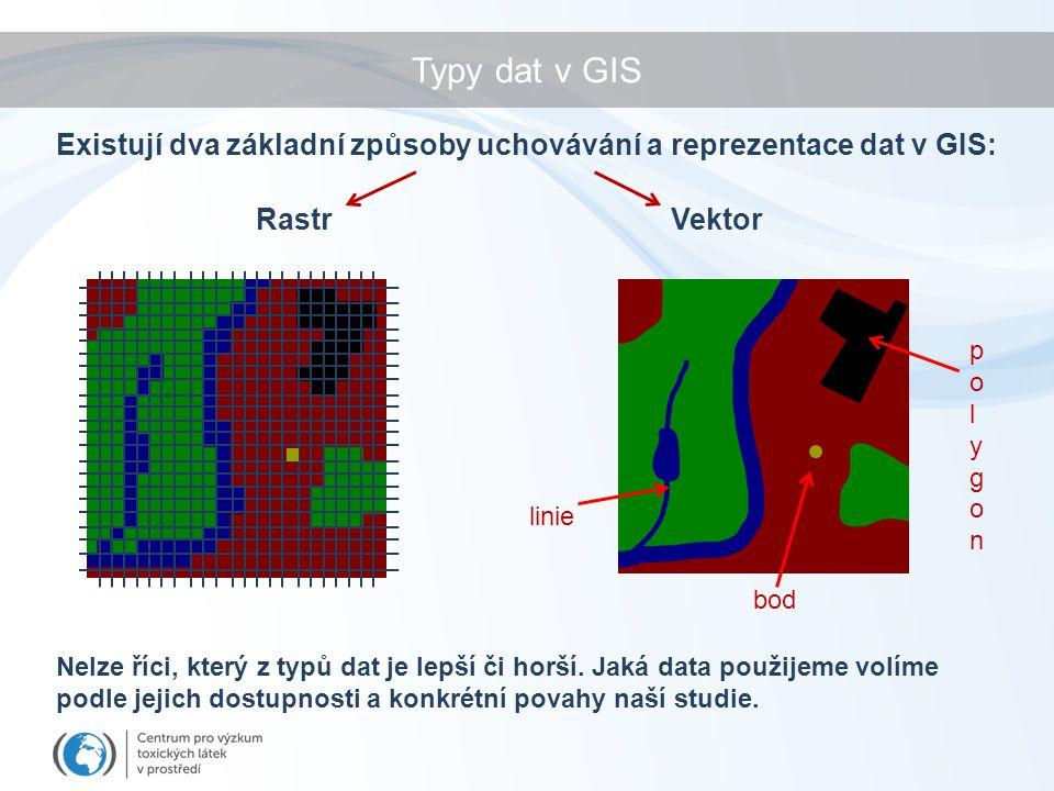 Typy dat v GIS RastrVektor Existují dva základní způsoby uchovávání a reprezentace dat v GIS: linie bod polygonpolygon Nelze říci, který z typů dat je lepší či horší.