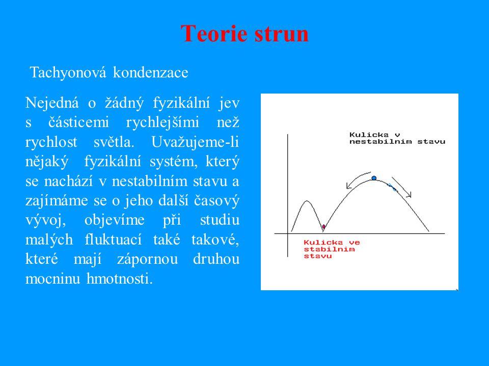 Teorie strun Tachyonová kondenzace Nejedná o žádný fyzikální jev s částicemi rychlejšími než rychlost světla.