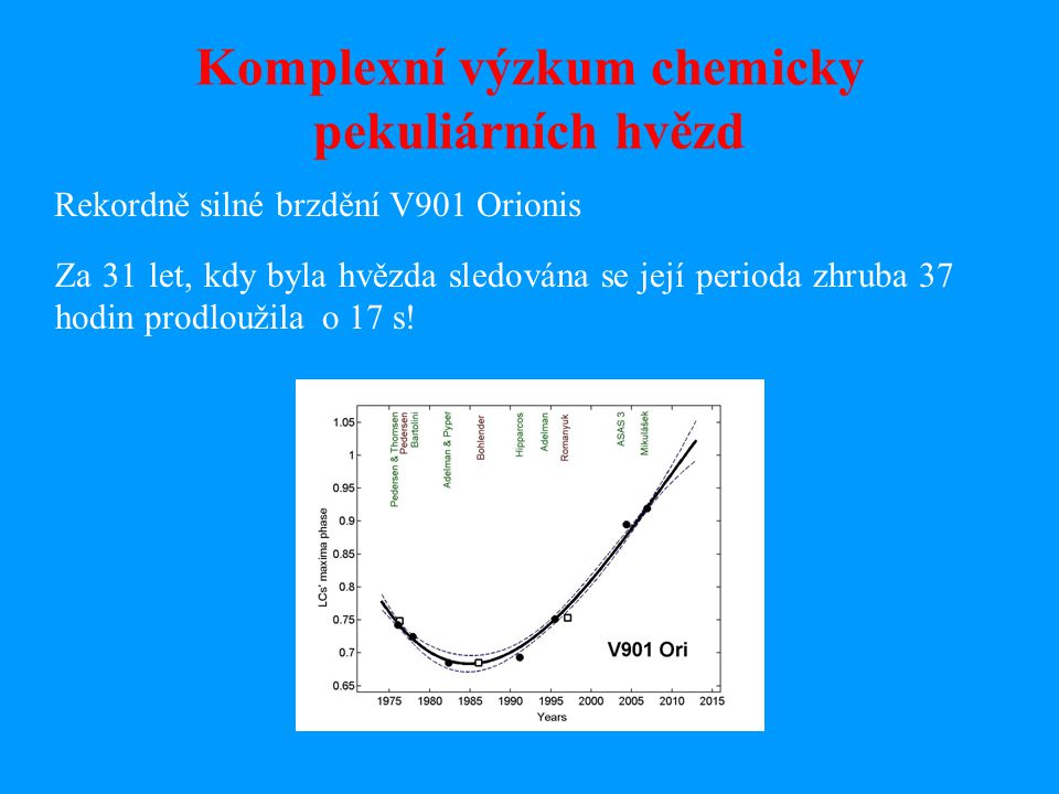 Komplexní výzkum chemicky pekuliárních hvězd Rekordně silné brzdění V901 Orionis Za 31 let, kdy byla hvězda sledována se její perioda zhruba 37 hodin prodloužila o 17 s!