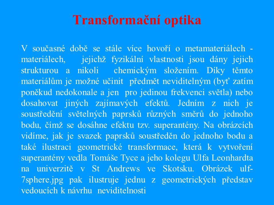 Transformační optika V současné době se stále více hovoří o metamateriálech - materiálech, jejichž fyzikální vlastnosti jsou dány jejich strukturou a nikoli chemickým složením.