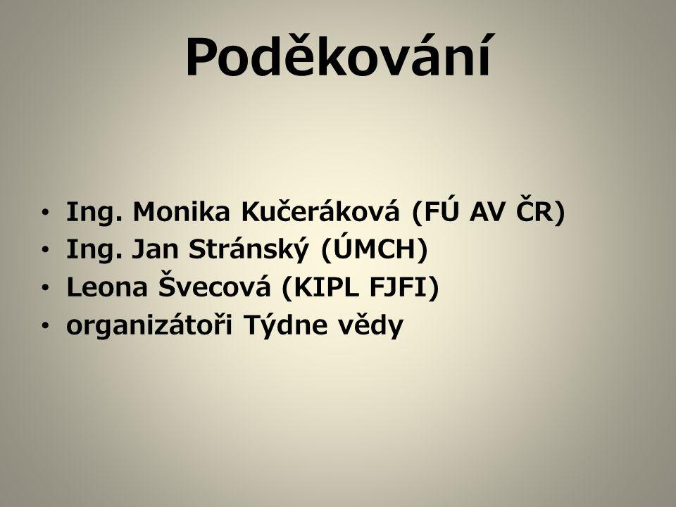 Poděkování Ing. Monika Kučeráková (FÚ AV ČR) Ing. Jan Stránský (ÚMCH) Leona Švecová (KIPL FJFI) organizátoři Týdne vědy