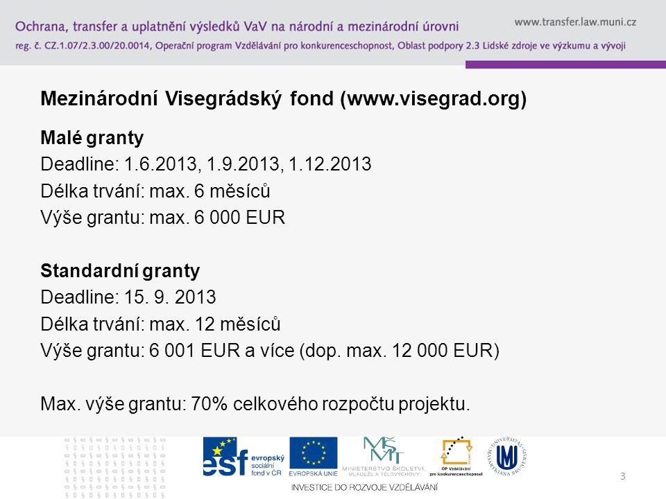 3 Mezinárodní Visegrádský fond (www.visegrad.org) Malé granty Deadline: 1.6.2013, 1.9.2013, 1.12.2013 Délka trvání: max. 6 měsíců Výše grantu: max. 6