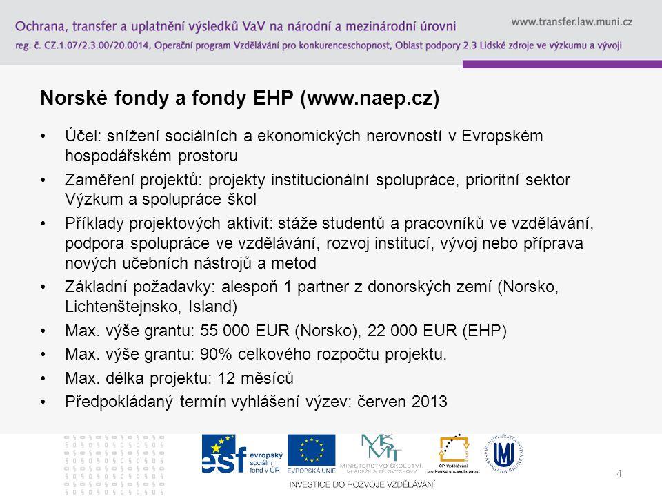4 Norské fondy a fondy EHP (www.naep.cz) Účel: snížení sociálních a ekonomických nerovností v Evropském hospodářském prostoru Zaměření projektů: proje