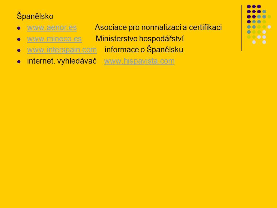 Španělsko www.aenor.es Asociace pro normalizaci a certifikaci www.aenor.es www.mineco.es Ministerstvo hospodářství www.mineco.es www.interspain.com informace o Španělsku www.interspain.com internet.