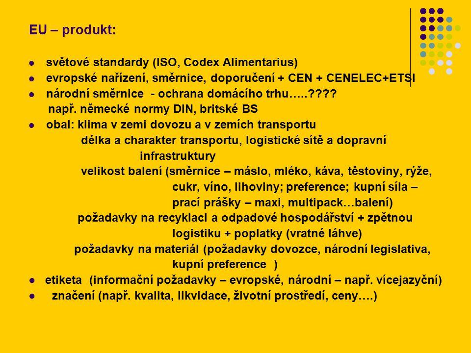 EU – produkt: světové standardy (ISO, Codex Alimentarius) evropské nařízení, směrnice, doporučení + CEN + CENELEC+ETSI národní směrnice - ochrana domácího trhu….. .