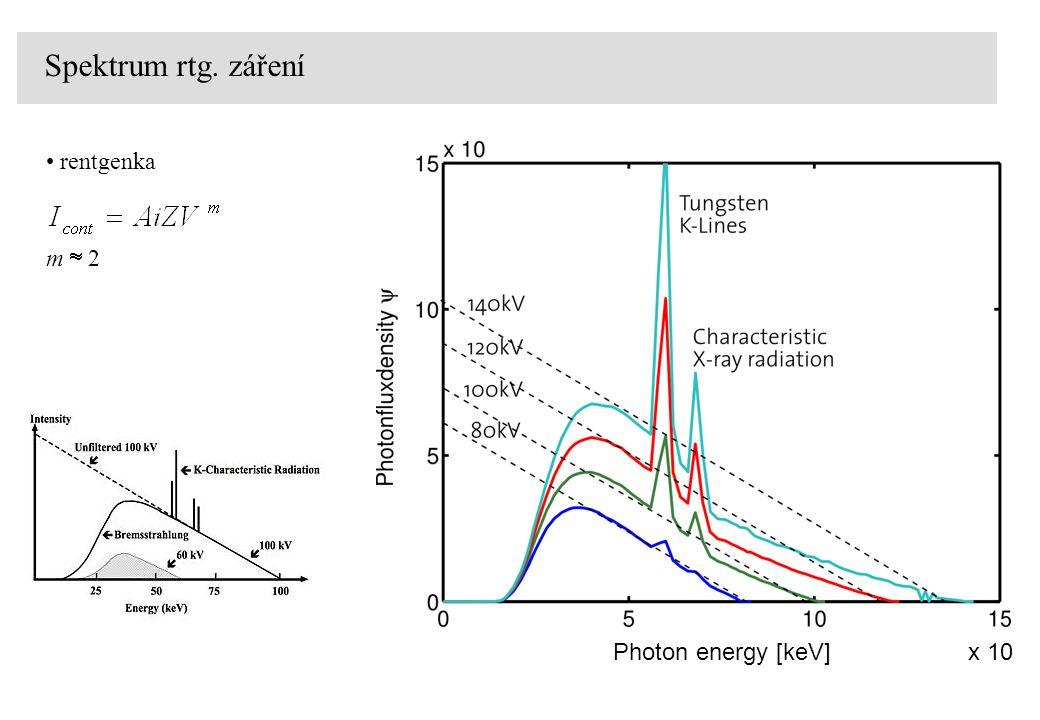rentgenka Spektrum rtg. záření Photon energy [keV]x 10 m  2