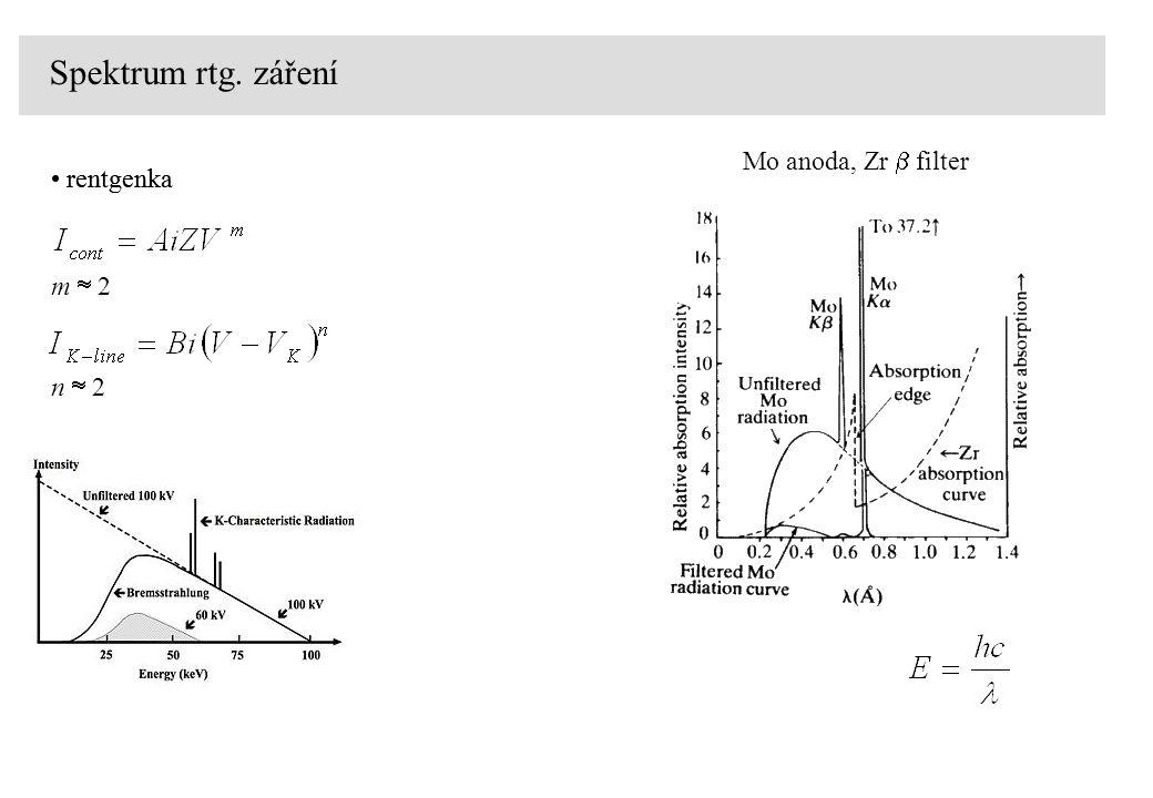rentgenka Spektrum rtg. záření Mo anoda, Zr  filter rentgenka m  2 n  2