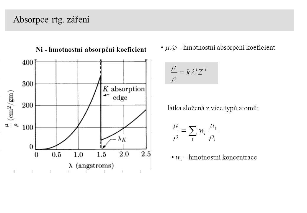 Absorpce rtg. záření látka složená z více typů atomů: w i – hmotnostní koncentrace    – hmotnostní absorpční koeficient Ni - hmotnostní absorpční