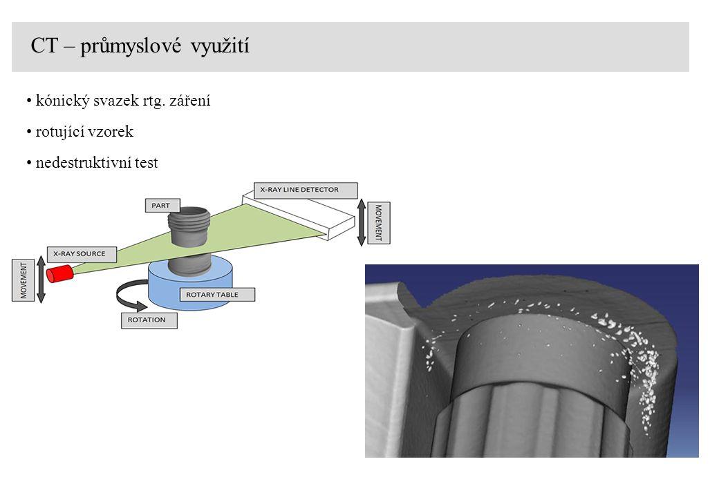 CT – průmyslové využití kónický svazek rtg. záření rotující vzorek nedestruktivní test