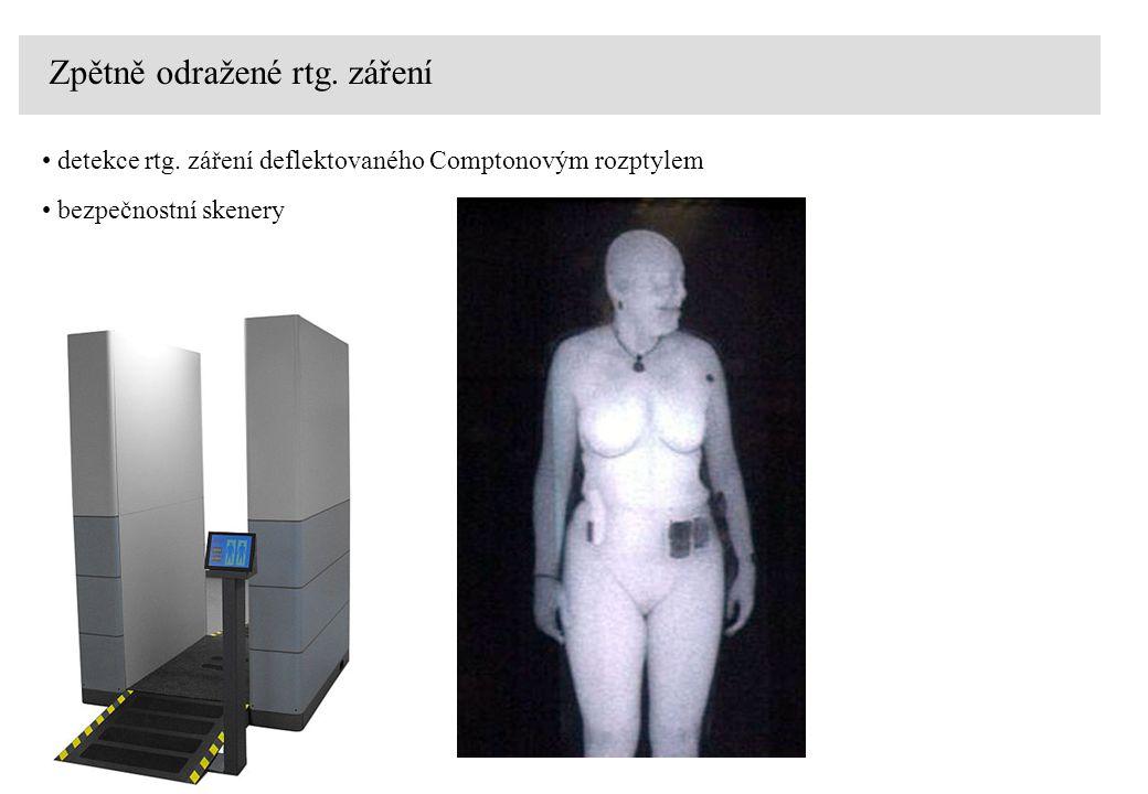 Zpětně odražené rtg. záření detekce rtg. záření deflektovaného Comptonovým rozptylem bezpečnostní skenery