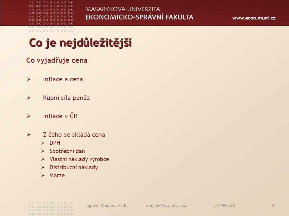 www.econ.muni.cz Ing. Jan Krajíček, Ph.D. krajicek@econ.muni.cz 549 495 3637 Co je nejdůležitější Co vyjadřuje cena  Inflace a cena  Kupní síla peně