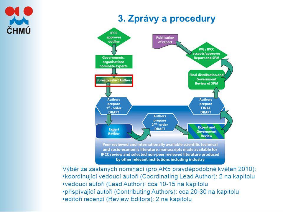 3. Zprávy a procedury Výběr ze zaslaných nominací (pro AR5 pravděpodobně květen 2010): koordinující vedoucí autoři (Coordinating Lead Author): 2 na ka