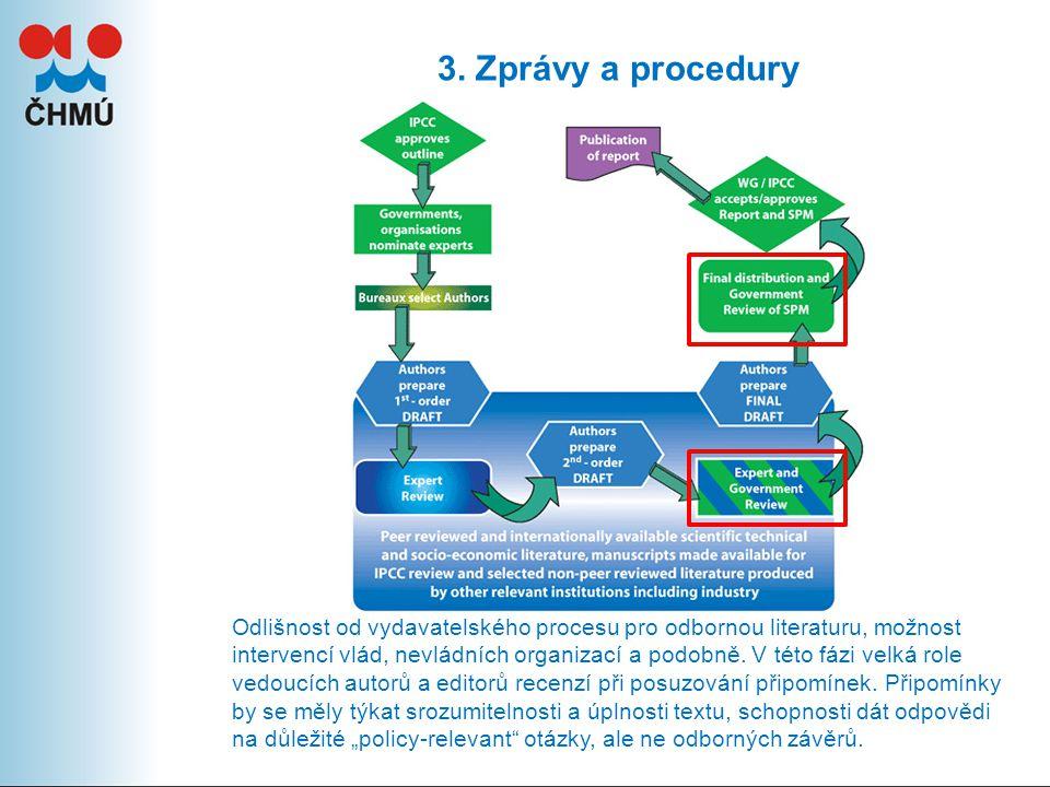 3. Zprávy a procedury Odlišnost od vydavatelského procesu pro odbornou literaturu, možnost intervencí vlád, nevládních organizací a podobně. V této fá