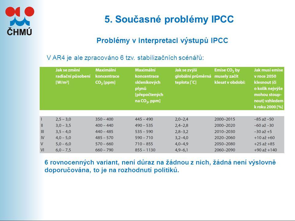 5. Současné problémy IPCC Problémy v interpretaci výstupů IPCC V AR4 je ale zpracováno 6 tzv.