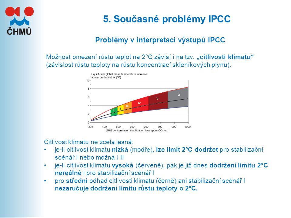 """5. Současné problémy IPCC Problémy v interpretaci výstupů IPCC Možnost omezení růstu teplot na 2°C závisí i na tzv. """"citlivosti klimatu"""" (závislost rů"""
