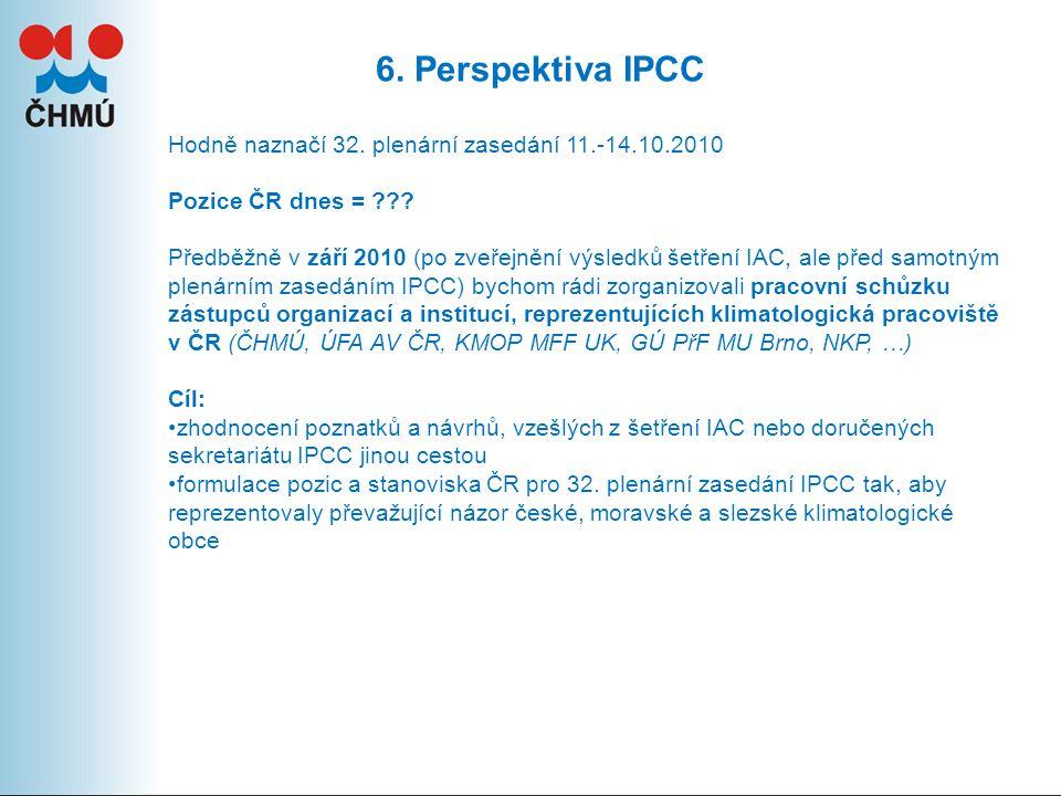 6. Perspektiva IPCC Hodně naznačí 32. plenární zasedání 11.-14.10.2010 Pozice ČR dnes = ??.