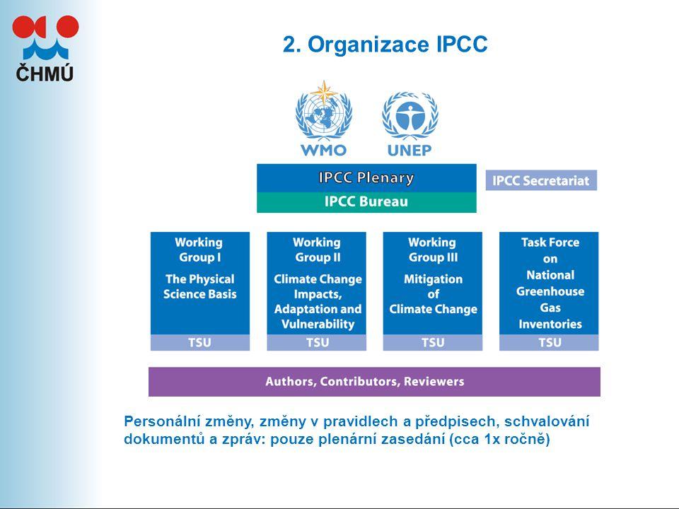 2. Organizace IPCC Personální změny, změny v pravidlech a předpisech, schvalování dokumentů a zpráv: pouze plenární zasedání (cca 1x ročně)