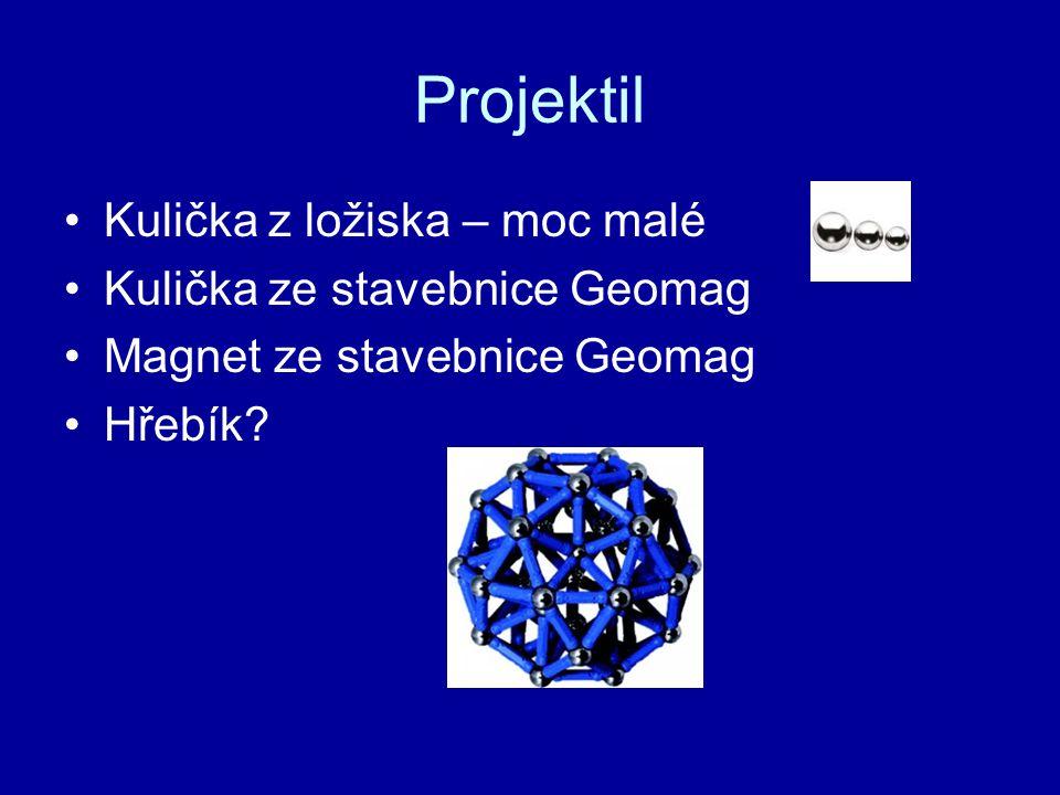 Projektil Kulička z ložiska – moc malé Kulička ze stavebnice Geomag Magnet ze stavebnice Geomag Hřebík?