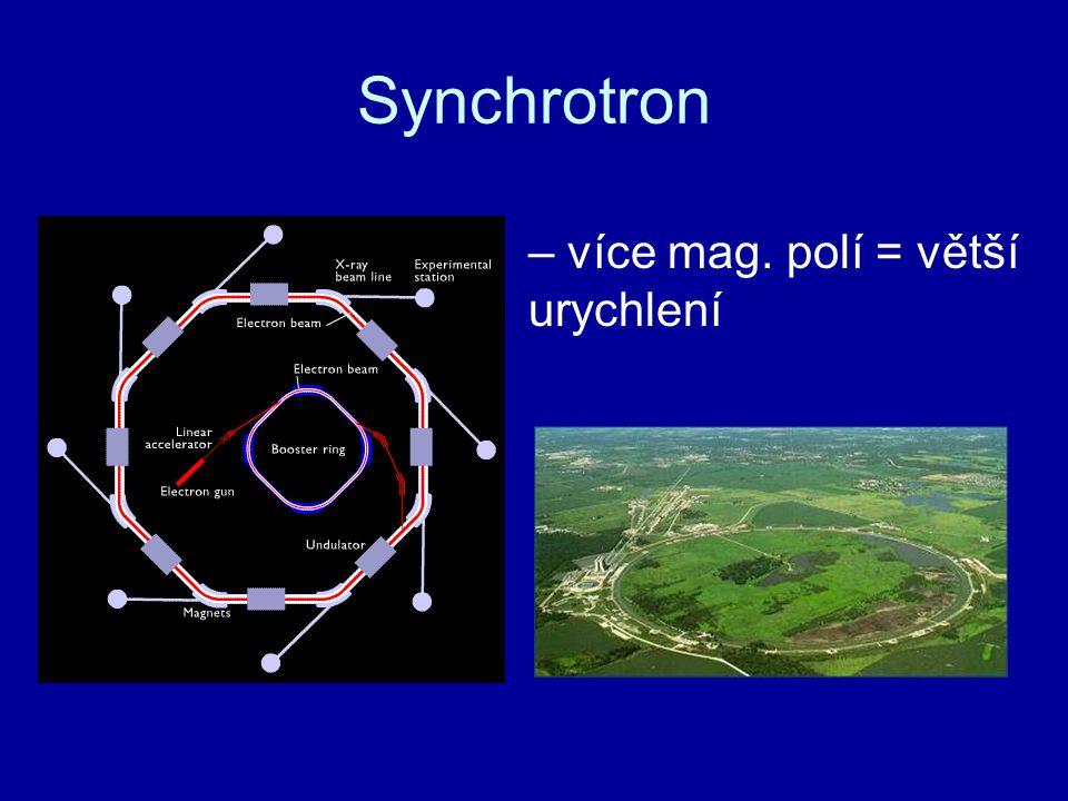 – více mag. polí = větší urychlení Synchrotron