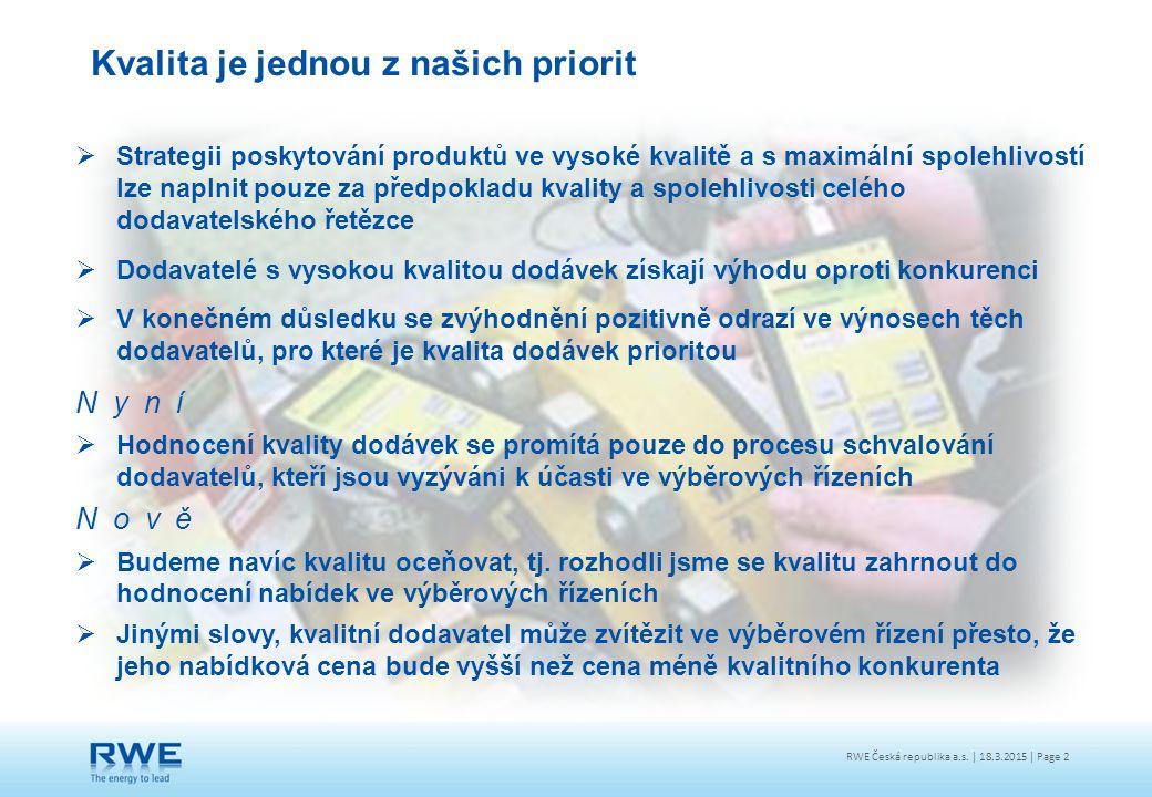 RWE Česká republika a.s. | 18.3.2015 | Page 2  Strategii poskytování produktů ve vysoké kvalitě a s maximální spolehlivostí lze naplnit pouze za před