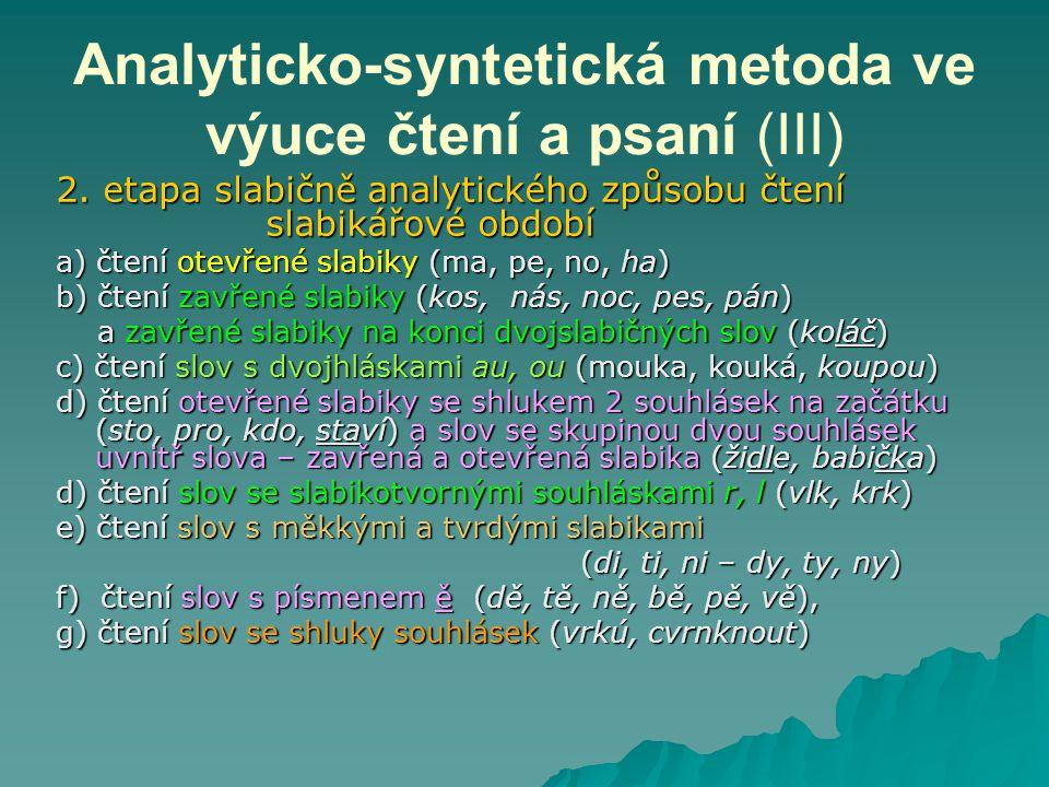 Analyticko-syntetická metoda ve výuce čtení a psaní (III) 2. etapa slabičně analytického způsobu čtení slabikářové období a) čtení otevřené slabiky (m