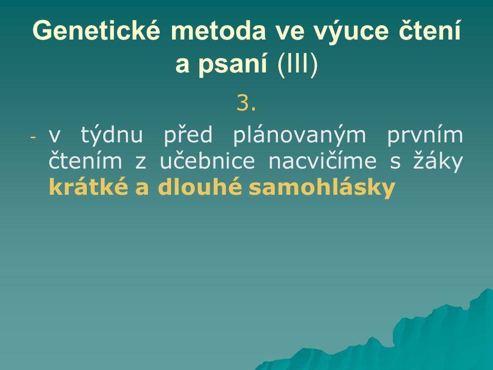 Genetické metoda ve výuce čtení a psaní (III) 3.