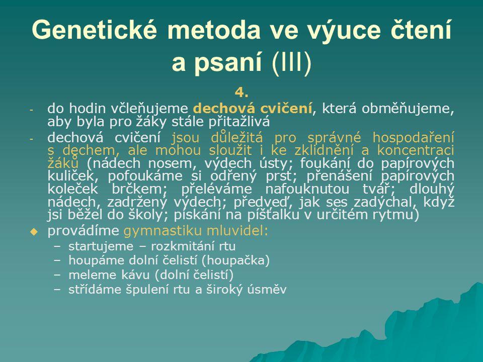 Genetické metoda ve výuce čtení a psaní (III) 4.