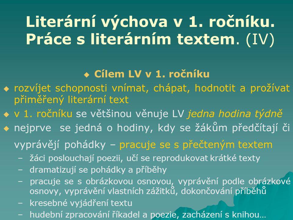 Literární výchova v 1. ročníku. Práce s literárním textem. (IV)   Cílem LV v 1. ročníku   rozvíjet schopnosti vnímat, chápat, hodnotit a prožívat