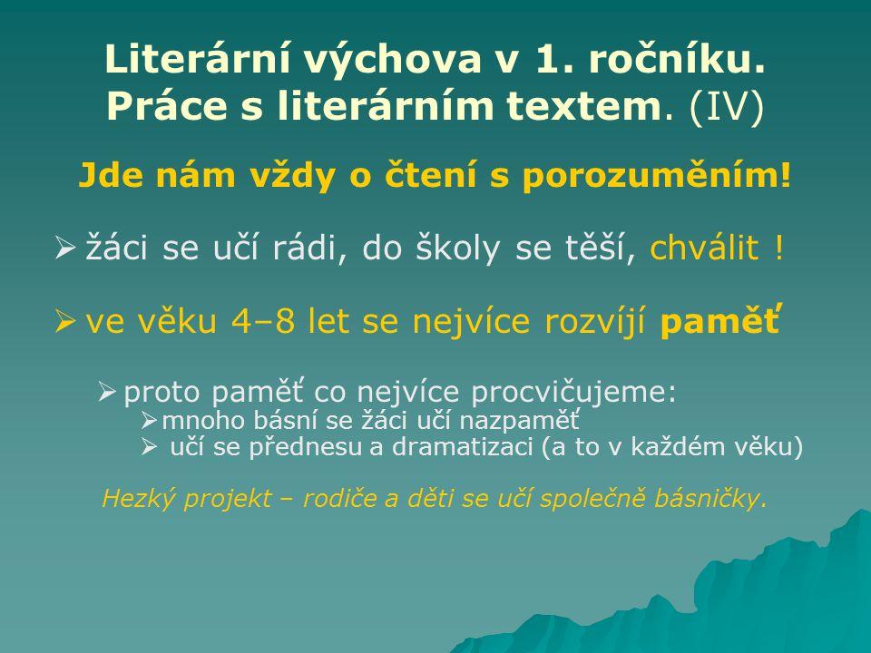 Literární výchova v 1. ročníku. Práce s literárním textem. (IV) Jde nám vždy o čtení s porozuměním!   žáci se učí rádi, do školy se těší, chválit !