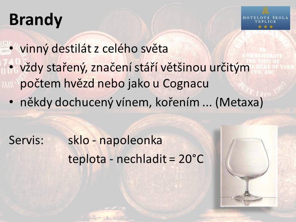 Brandy vinný destilát z celého světa vždy stařený, značení stáří většinou určitým počtem hvězd nebo jako u Cognacu někdy dochucený vínem, kořením...