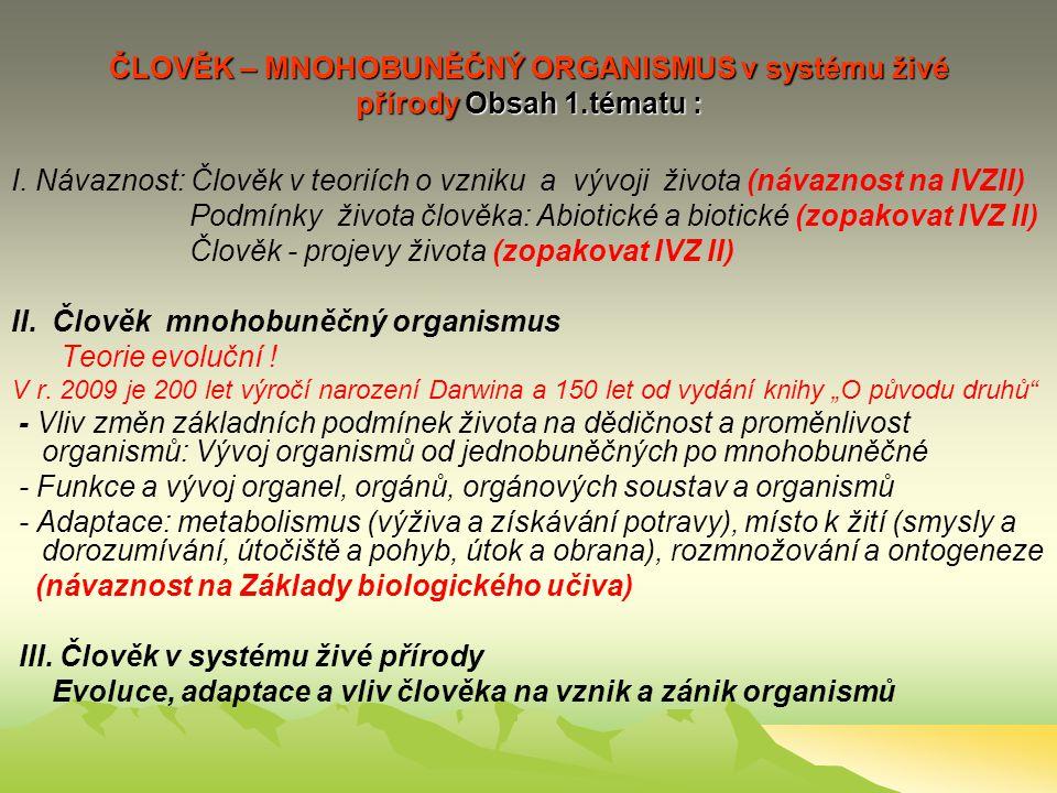 ČLOVĚK – MNOHOBUNĚČNÝ ORGANISMUS v systému živé přírody Obsah 1.tématu : I.