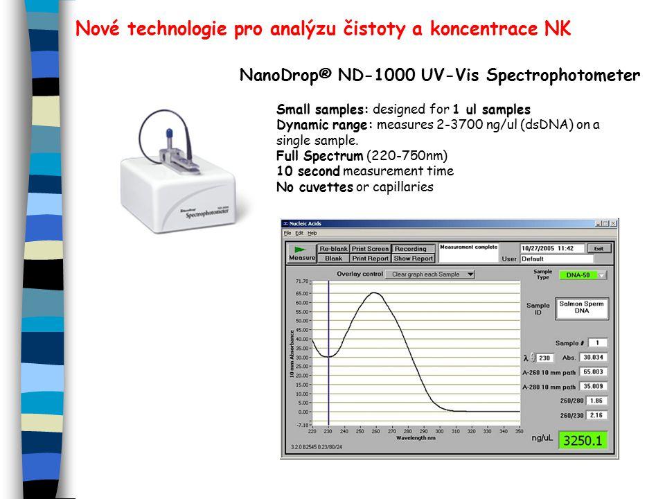 Nové technologie pro analýzu čistoty a koncentrace NK NanoDrop® ND-1000 UV-Vis Spectrophotometer Small samples: designed for 1 ul samples Dynamic range: measures 2-3700 ng/ul (dsDNA) on a single sample.