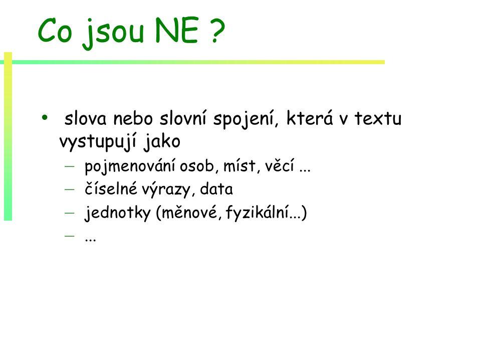 Co jsou NE ? slova nebo slovní spojení, která v textu vystupují jako – pojmenování osob, míst, věcí... – číselné výrazy, data – jednotky (měnové, fyzi