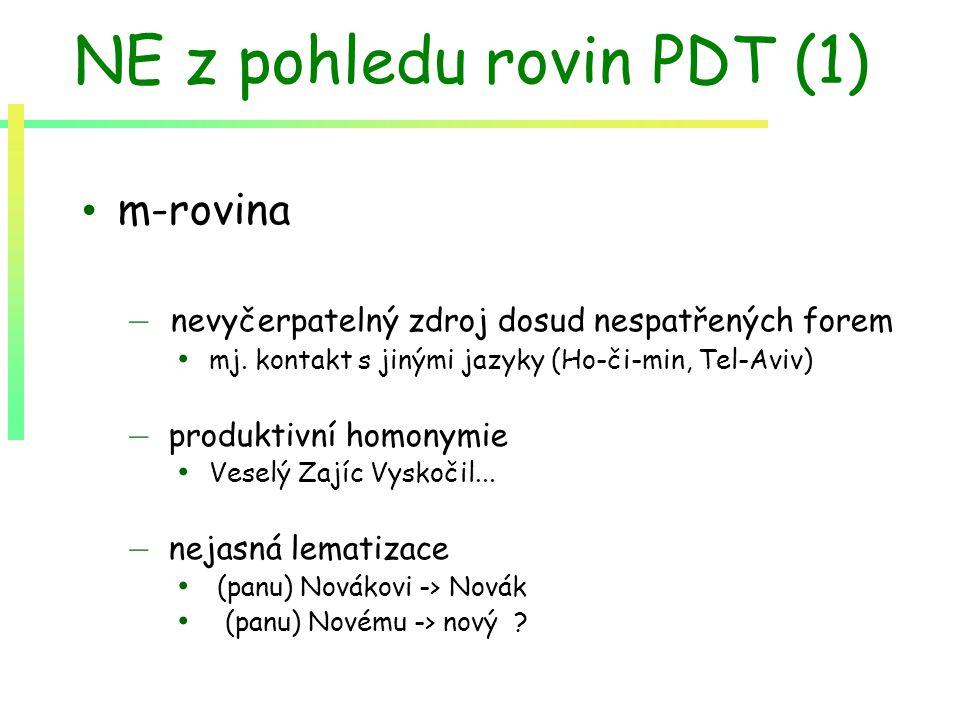 NE z pohledu rovin PDT (1) m-rovina – nevyčerpatelný zdroj dosud nespatřených forem mj. kontakt s jinými jazyky (Ho-či-min, Tel-Aviv) – produktivní ho