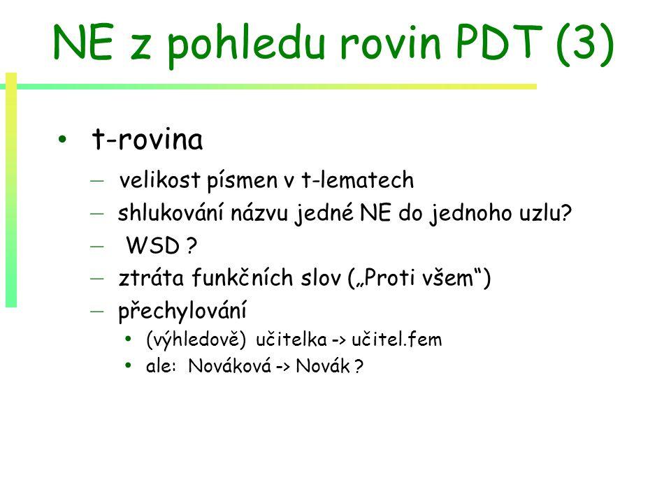 """NE z pohledu rovin PDT (3) t-rovina – velikost písmen v t-lematech – shlukování názvu jedné NE do jednoho uzlu? – WSD ? – ztráta funkčních slov (""""Prot"""