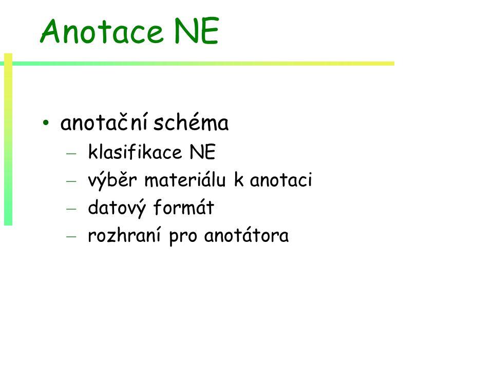 Anotace NE anotační schéma – klasifikace NE – výběr materiálu k anotaci – datový formát – rozhraní pro anotátora