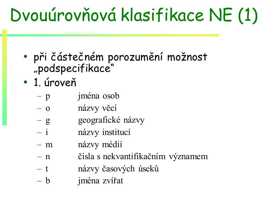 """Dvouúrovňová klasifikace NE (1) při částečném porozumění možnost """"podspecifikace"""" 1. úroveň –p jména osob –onázvy věcí –g geografické názvy –inázvy in"""