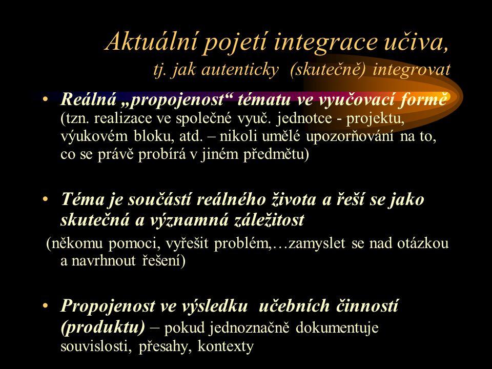 Aktuální pojetí integrace učiva, tj.
