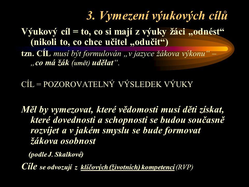 """2. Vazba tématu na - cíle ZV (SV) - """"klíčové kompetence"""" *) z RVP ZV (najít přirozené a logické možnosti) - """"očekávané výstupy"""" (v předmětech a vzděl."""