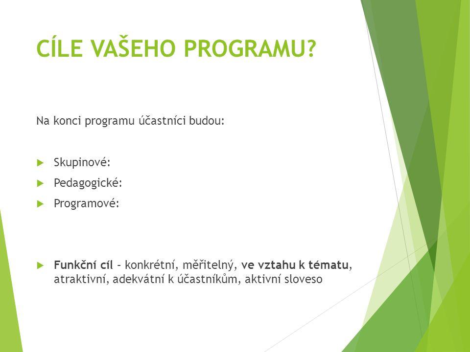 CÍLE VAŠEHO PROGRAMU? Na konci programu účastníci budou:  Skupinové:  Pedagogické:  Programové:  Funkční cíl – konkrétní, měřitelný, ve vztahu k t