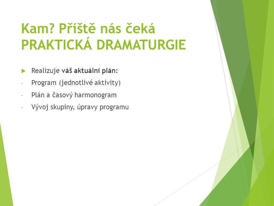 Kam? Příště nás čeká PRAKTICKÁ DRAMATURGIE  Realizuje váš aktuální plán: - Program (jednotlivé aktivity) - Plán a časový harmonogram - Vývoj skupiny,