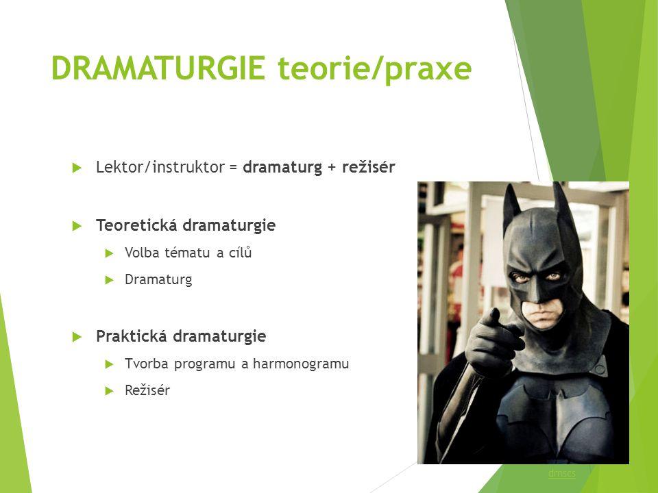 DRAMATURGIE teorie/praxe  Lektor/instruktor = dramaturg + režisér  Teoretická dramaturgie  Volba tématu a cílů  Dramaturg  Praktická dramaturgie