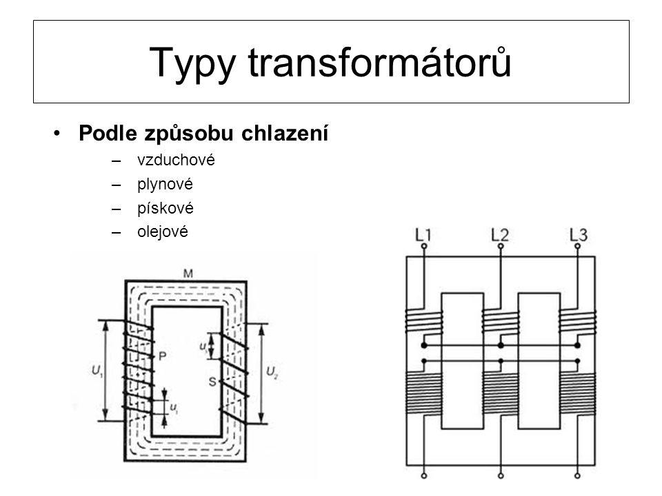 Typy transformátorů Podle způsobu chlazení –vzduchové –plynové –pískové –olejové
