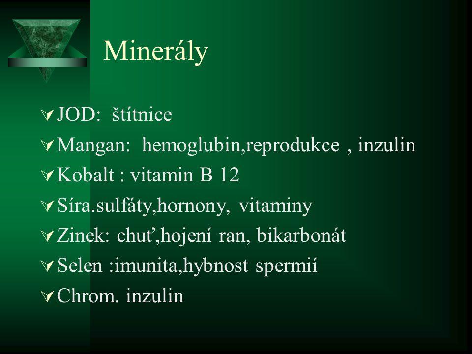 Minerály  JOD: štítnice  Mangan: hemoglubin,reprodukce, inzulin  Kobalt : vitamin B 12  Síra.sulfáty,hornony, vitaminy  Zinek: chuť,hojení ran, b