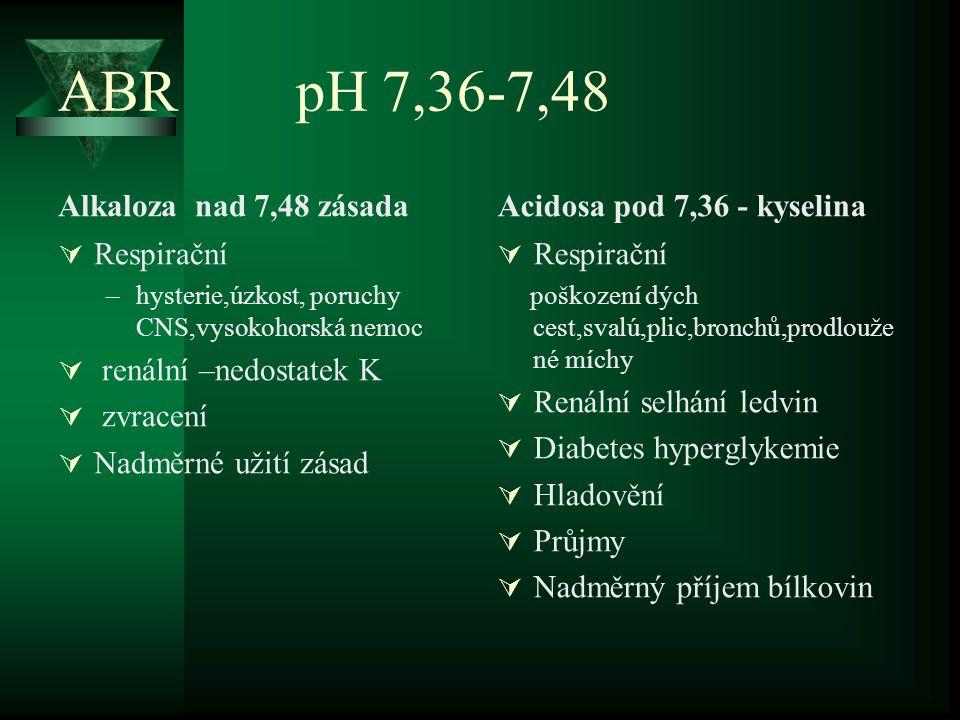ABR pH 7,36-7,48 Alkaloza nad 7,48 zásada  Respirační –hysterie,úzkost, poruchy CNS,vysokohorská nemoc  renální –nedostatek K  zvracení  Nadměrné
