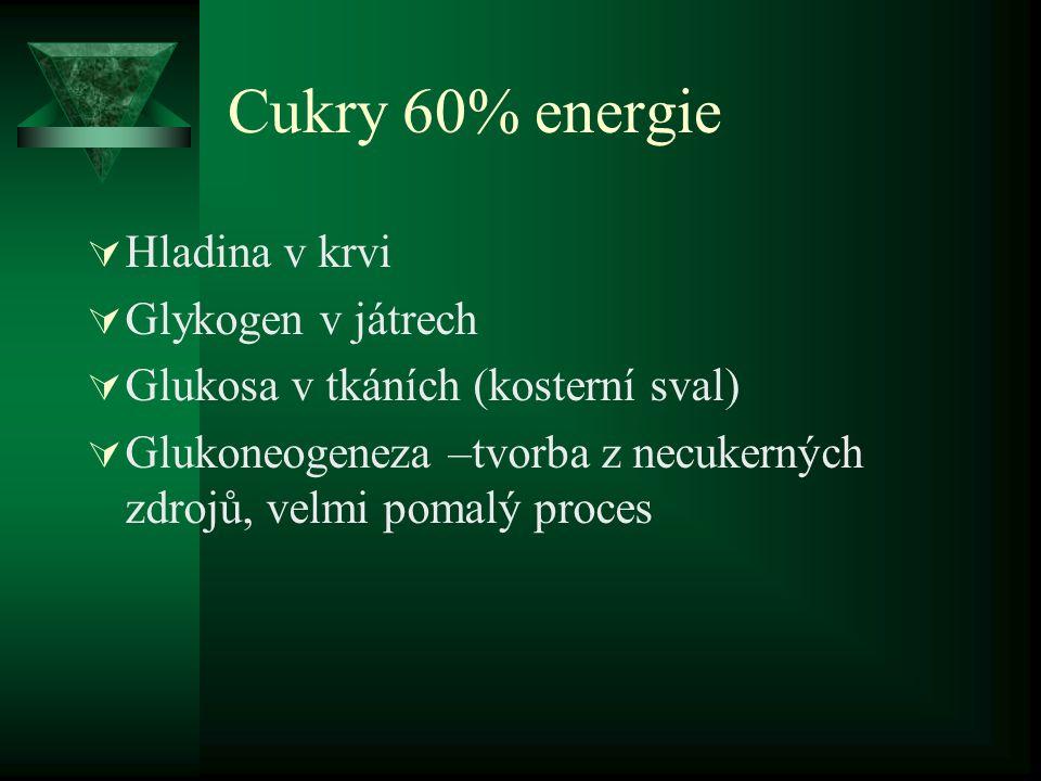 Cukry 60% energie  Hladina v krvi  Glykogen v játrech  Glukosa v tkáních (kosterní sval)  Glukoneogeneza –tvorba z necukerných zdrojů, velmi pomal