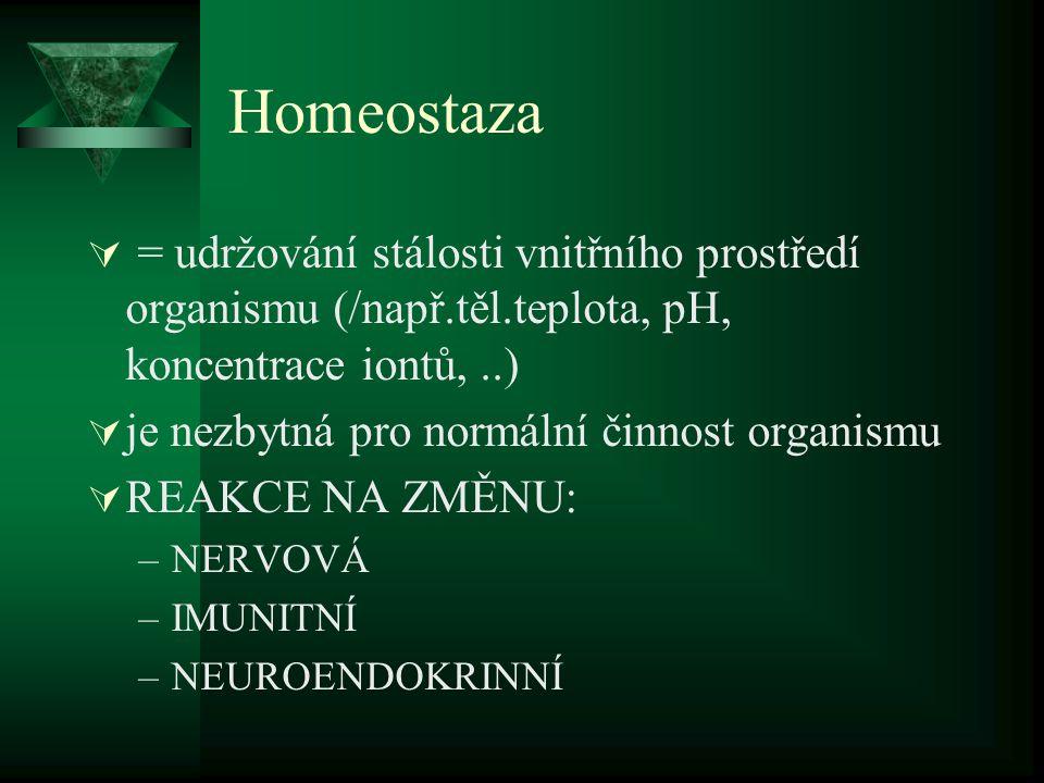 Homeostaza  = udržování stálosti vnitřního prostředí organismu (/např.těl.teplota, pH, koncentrace iontů,..)  je nezbytná pro normální činnost organ